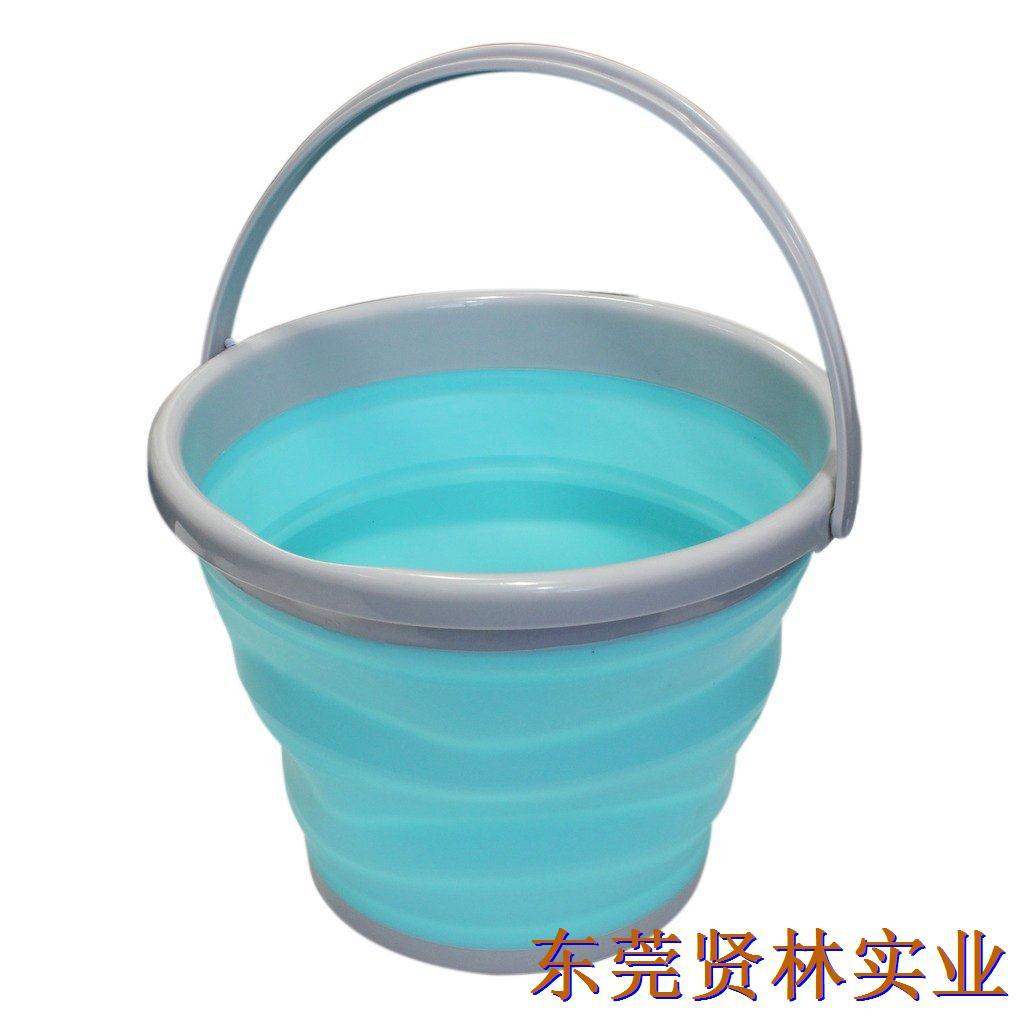 加厚可折叠打水桶EVA超软硅胶伸缩便携钓鱼桶方形开饵盘