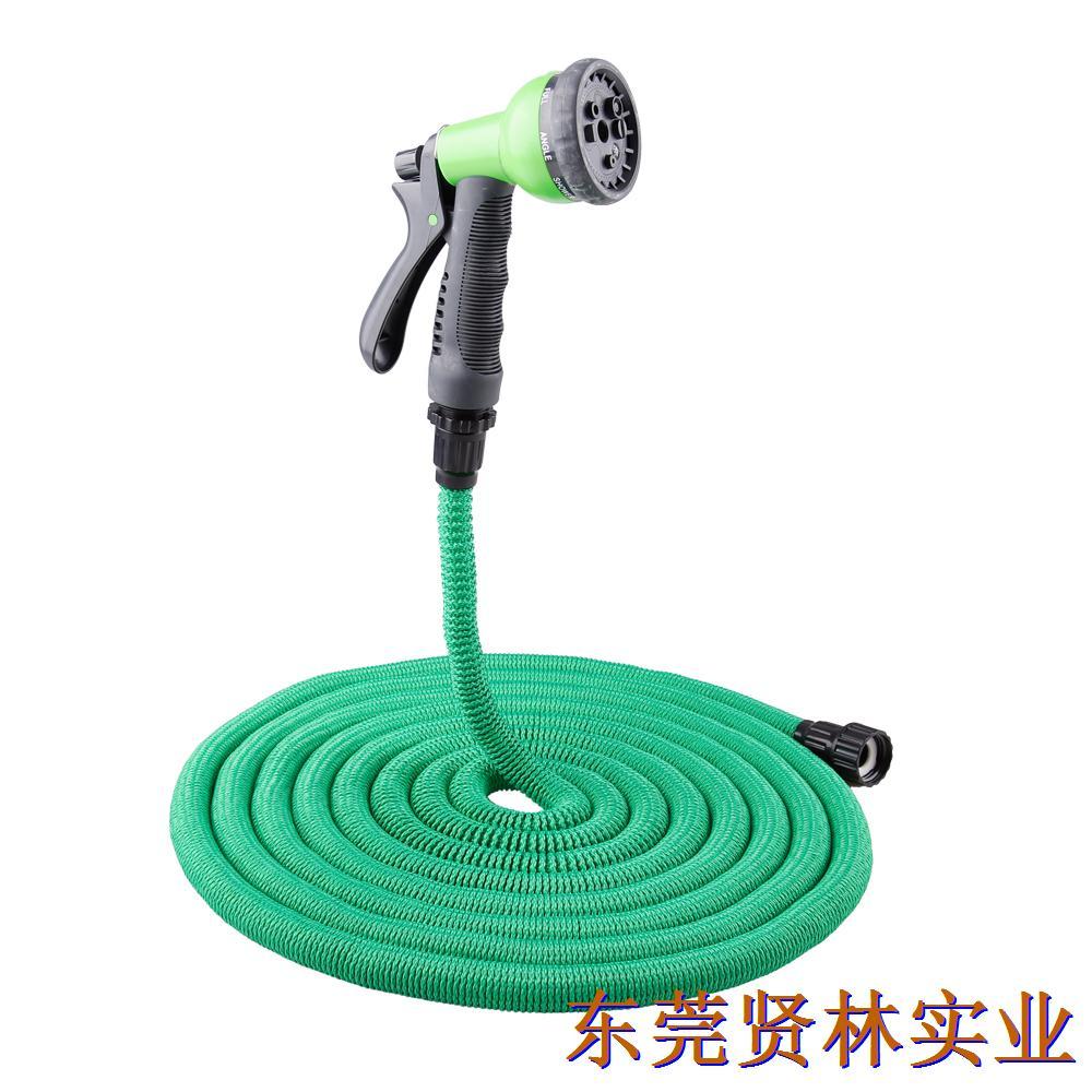 便捷式园林浇花水管 可伸缩水管黑色+塑料直通接头+八功能水枪(美标)