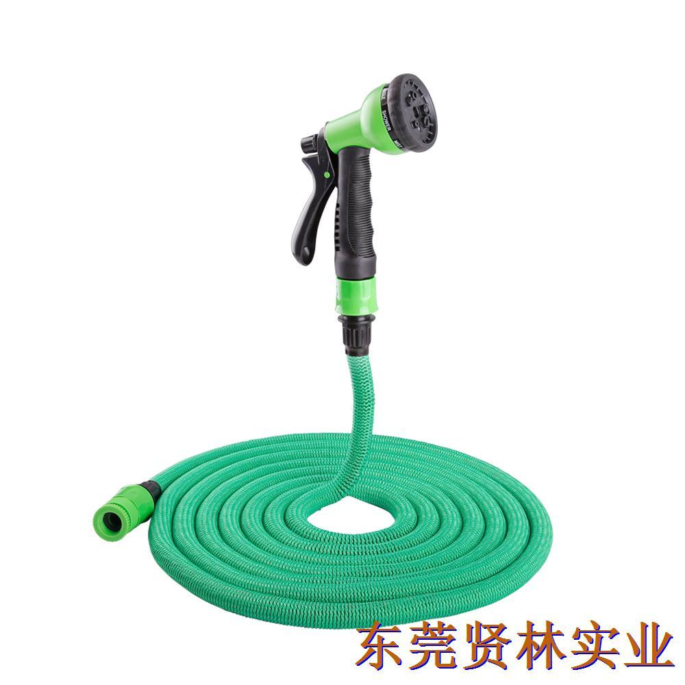 2017亚马逊爆款花园水管 可伸缩水管塑料快接+八功能水枪(欧标)