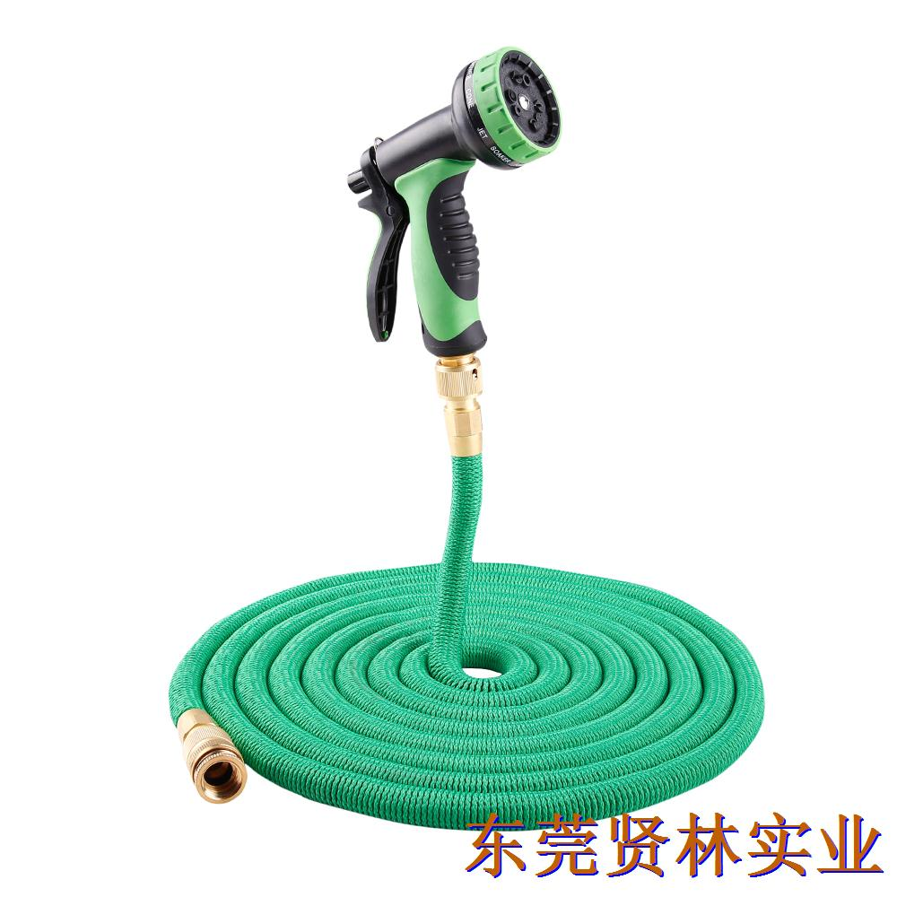 园林浇花水管可伸缩的花园水管  黄铜快接+十功能水枪(欧标)