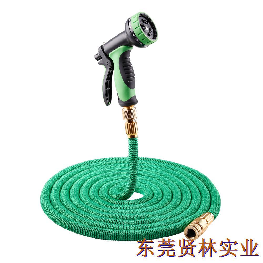 最新款亚马逊爆款花园伸缩水管  铝阳极快接+十功能水枪(美标)